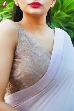 Pastel Mauve Pink Silk Georgette Dupion Silk Taping Saree