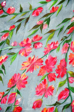 White Organza Hand painted Colorful Floral Red Stole