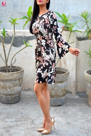 Printed Crepe Floral Midi Dress