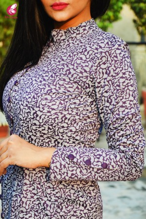 Grey & Purple Cotton Silk Kurti with Purple Cotton Silk Pants