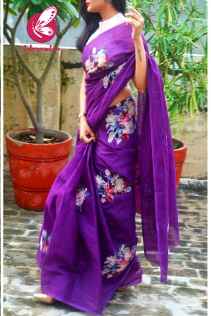 Purple Organdy Floral Applique Saree
