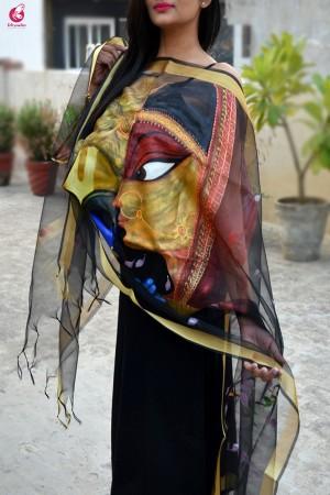 Black Handpainted Radha Krishna Organza Stole