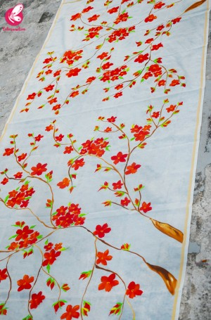 Off White Chanderi Floral Handpainted Stole