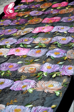 Black Pure Organza Floral Multicoloured Roses Hand painted Stole