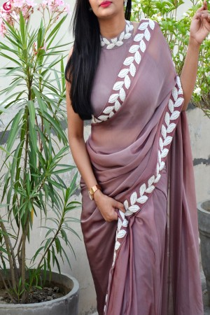 Mauve Pearl Work Pure Silk Chiffon Saree