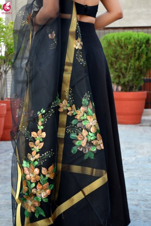 Black Organza Hand Painted Floral Stole