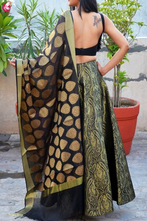 Black Brocade Lehenga with Padded Crepe Blouse and Chanderi Stole