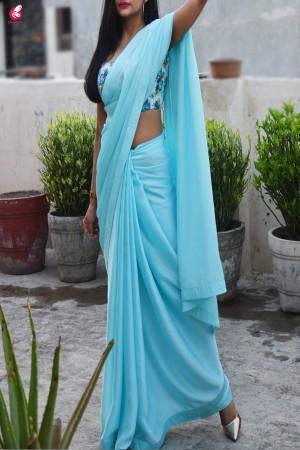 Pastel Sky Blue Silk Georgette Taping Saree