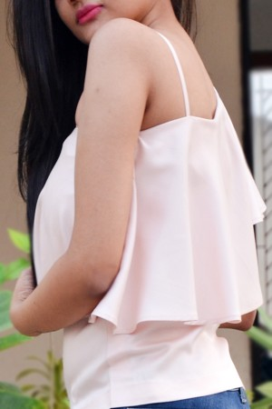 Pastel Pink Rayon One Strap Shoulder Top
