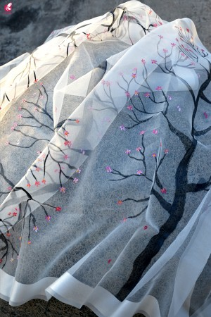 White Organza Hand painted Tree Stole