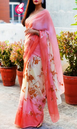 Peach & Off White Double Shaded Chinon Saree