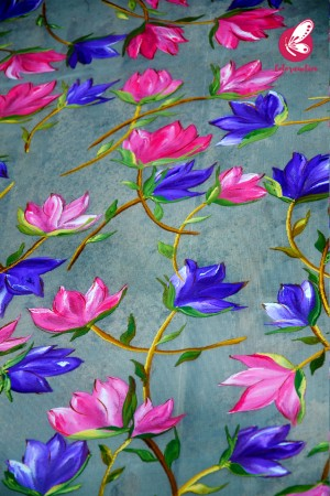 Grey Organza Hand painted Pink Purple Floral Stole