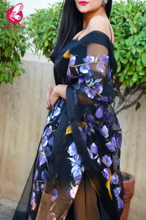 Black Organza Hand-painted Violet Stole