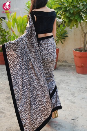 White Leopard Print Satin Velvet Taping Saree