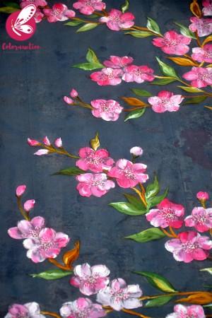 Bluish Grey Organza Hand-painted Pink Floral Stole