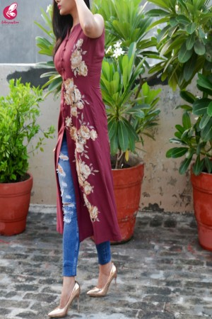 Wine Modal Rayon Patch Work Kurti