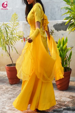 Yellow Brocade Padded Kurta with Yellow Crepe Skirt and Yellow Pure Organza Ruffle Dupatta