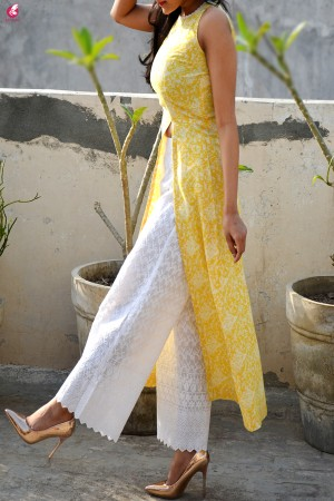 Lemon Printed Modal Rayon Sleeveless Long Kurti