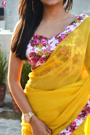 Yellow Georgette Floral Border Saree