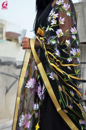 Black Organza Floral Birds Handpainted Stole