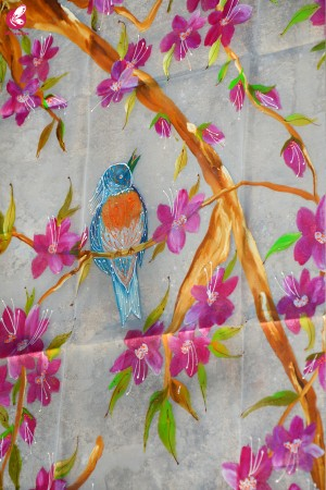 White Organza Handpainted Colorful Floral Bird Stole