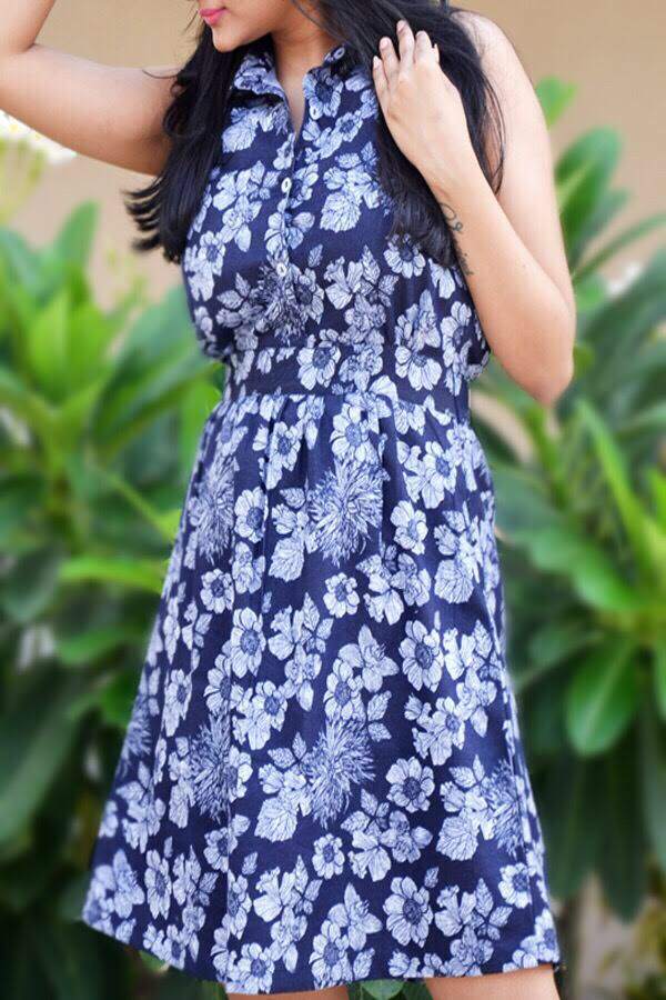 Blue Denim Floral Dress