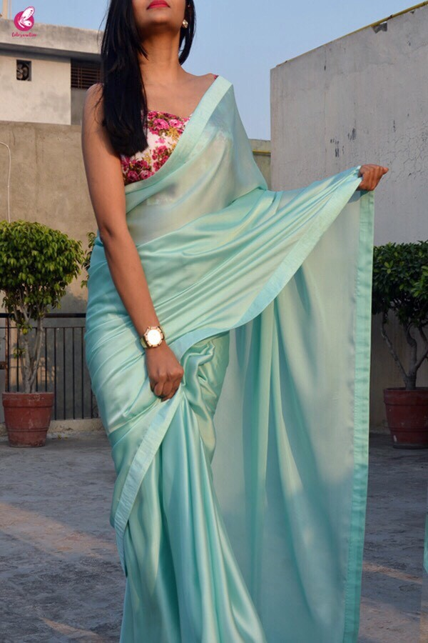 7208059ecf Buy Sea Green Silk Georgette Saree - Sarees Online in India ...