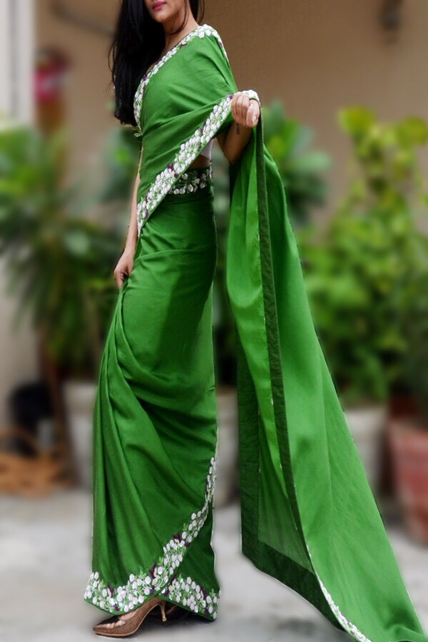 Green Handwork Pure Silk Saree