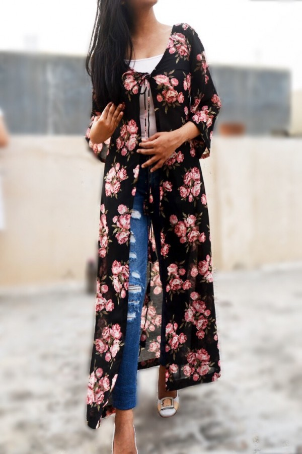 Buy Black Georgette Floral Shrug By Colorauction Online