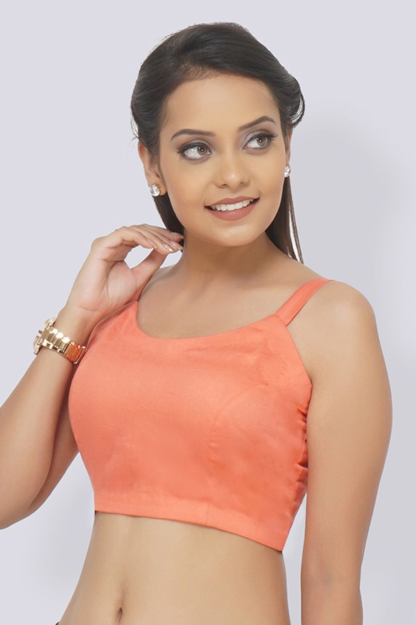 Pastel Orange Glace Cotton Padded Blouse