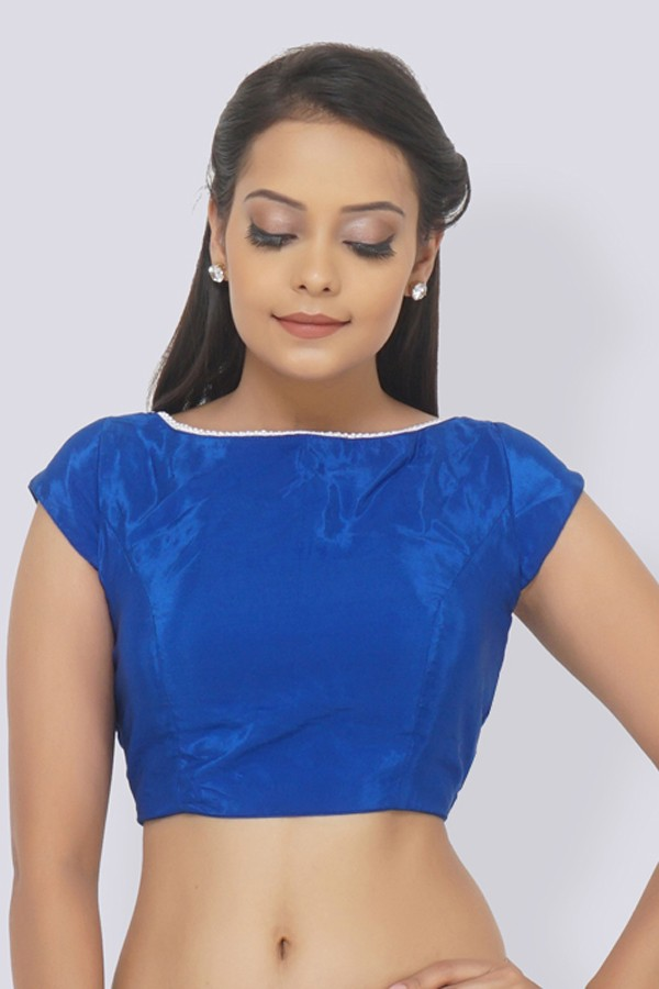 Blue Crepe Padded Blouse