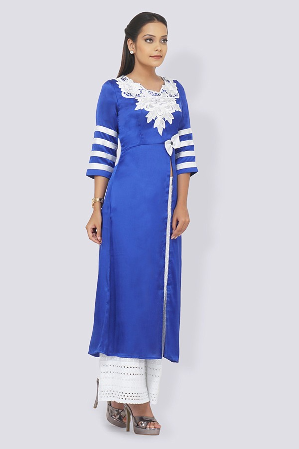 Blue Satin Patched Straight Kurti