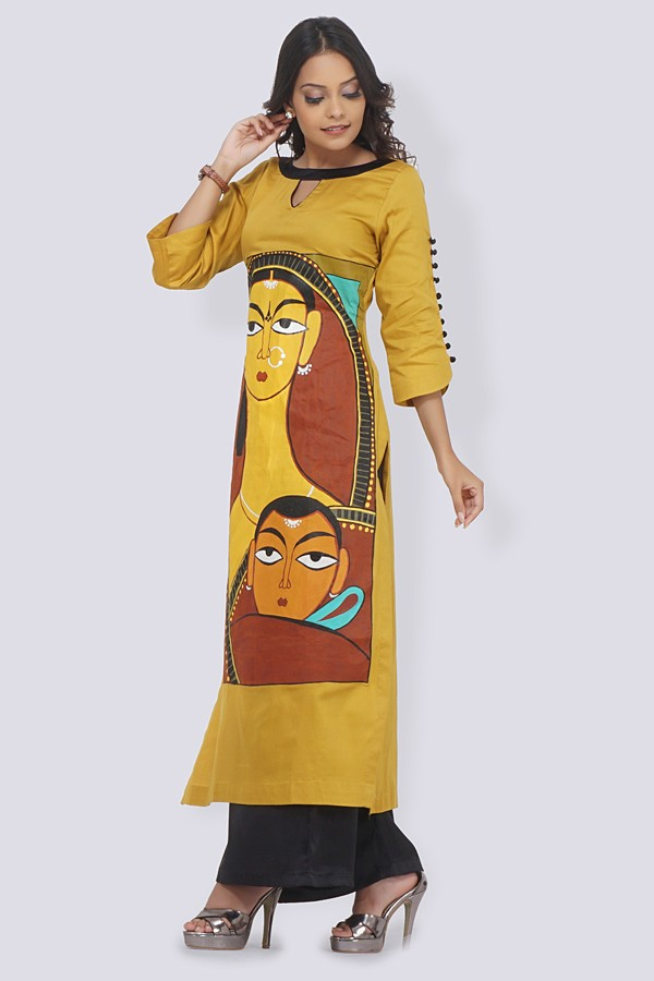 d189409f53 Buy Mustard Cotton Handpainted Straight Kurti by Colorauction - Online  shopping for Kurtis in India