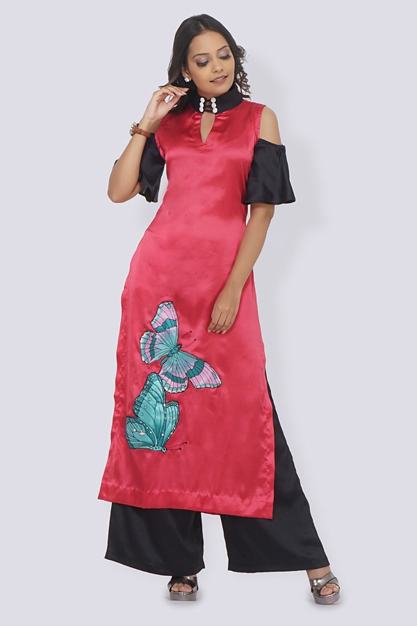 Pink Satin Patched Straight Kurti