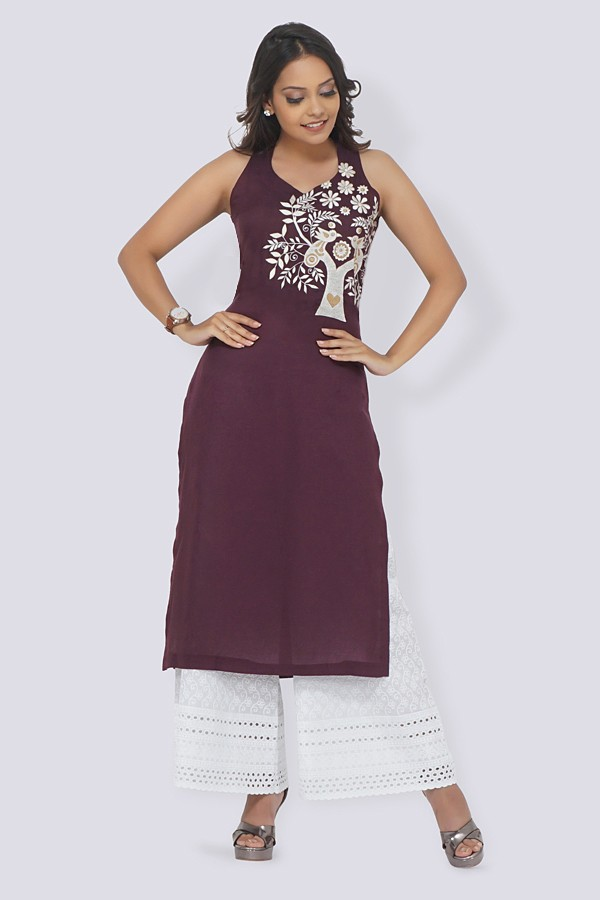 Wine Modal Rayon Embroidered Straight Kurti