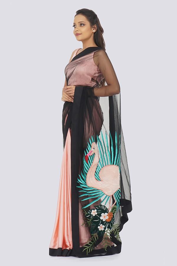 Pastel Pink Satin Embroidered Saree