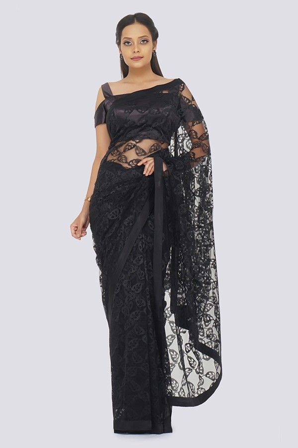 Black Self Net Saree