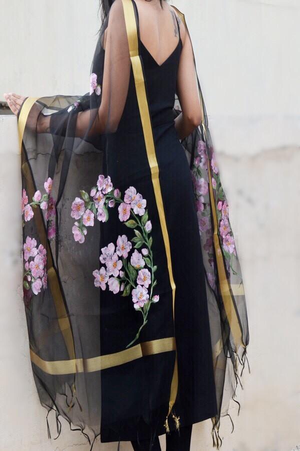 Black Organza Floral Stole