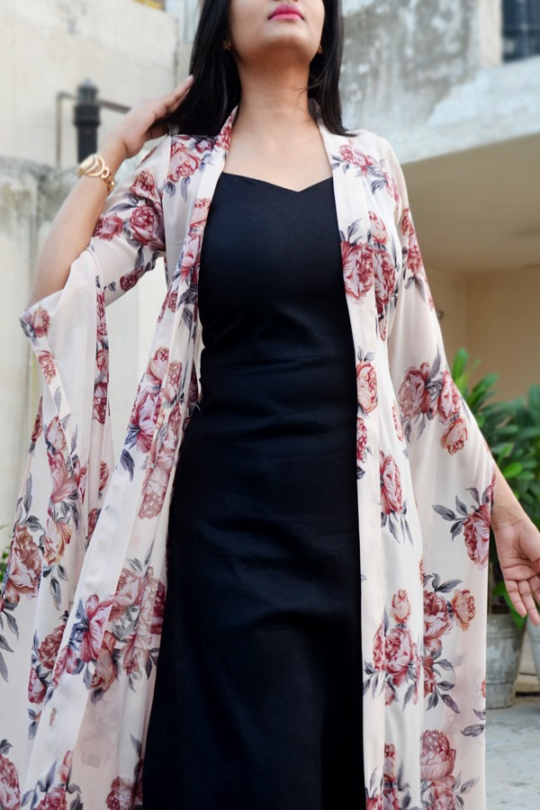 Buy Off White Georgette Printed Floral Shrug By